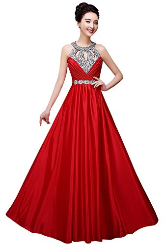 Gown New Quinceanera (Manfei 2019 New Beaded O Neck Long Formal Evening Prom Dress Open Back Red Size 2)