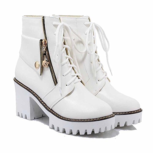 Allhqfashion Mujeres Low-top Sólido Con Cordones Redondo Cerrado Pies Tacones Altos Botas Blancas