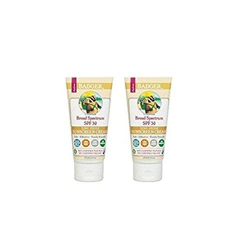 Badger Certified Natural (Broad Spectrum) Sunscreen, SPF 30, Unscented 2.9 oz (87 ml) (Pack of 2)