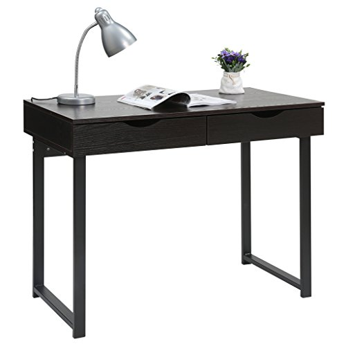LANGRIA Modern Computer Desk Home Office Desk PC Latop Study Table Workstation Writing Desk Black Desk with 2 Drawers, Easy Assembly, 39.4'' x 21.7'' x 29.5'' Photo #9
