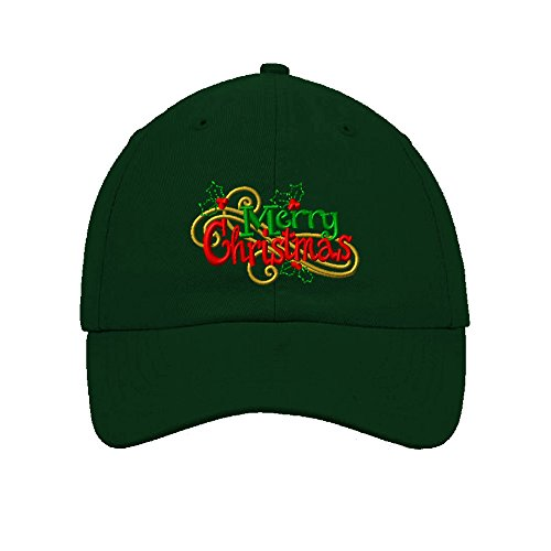 Speedy Pros Cotton 6 Panel Low Profile Hat Merry Christmas Logo Embroidery Forest Green
