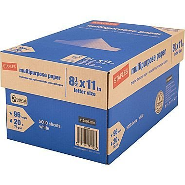 - Staples Multipurpose Inkjet and Laser Paper, Bright White, 20 lb, 5000 Sheets/Case