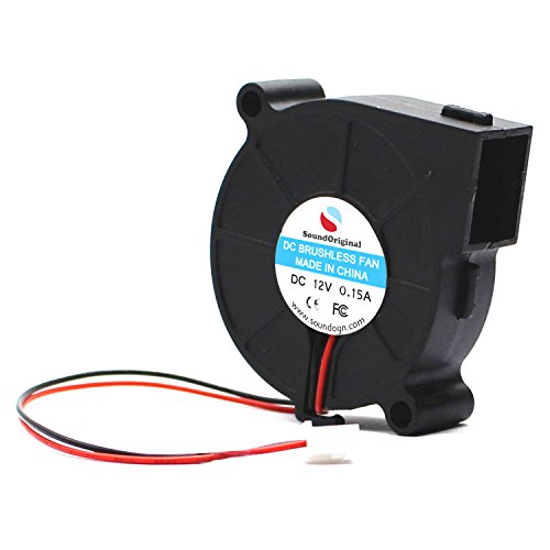 SoundOriginal 12VDC Brushless Blower Cooling Fan 50x50x15mm Fans for 3D Printer Humidifier Aromatherapy and Other Small Appliances Series Repair Replacement (x1 12V)