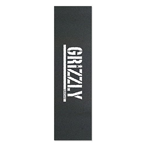 GrizzlyシングルシートスタンプブラックホワイトGriptapeスケートボードグリップテープby Grizzly