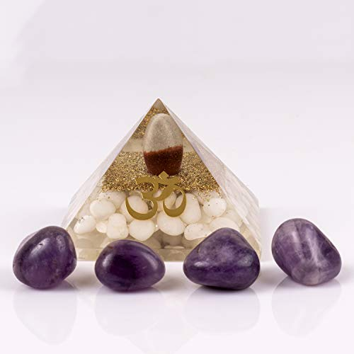 Amethyst Balance - Divine Magic Healing Pyramid Shivling Improves Analytical Abilities and Intellectual Balance | Amethyst Tumbled Stones Enhances Memory