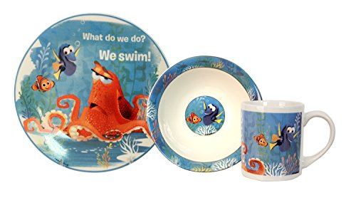Disney 3 Piece Finding Dory Ceramic Dinnerware Set, - Porcelain Disney