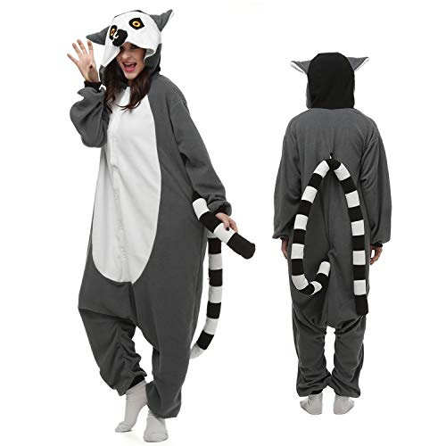 Lemur Onesie Adult Animal Pajamas Cosplay Sleepwear Lemur Costume Cartoon Outfit for Women/Men]()