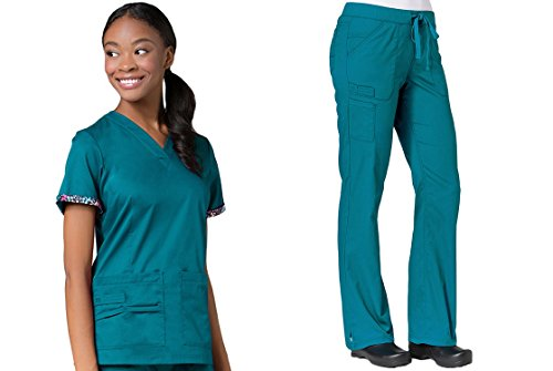 Maevn PrimaFlex Inner Beauty V-Neck Top & Straight Leg Pant Scrub Set (X-Large, Teal) ()