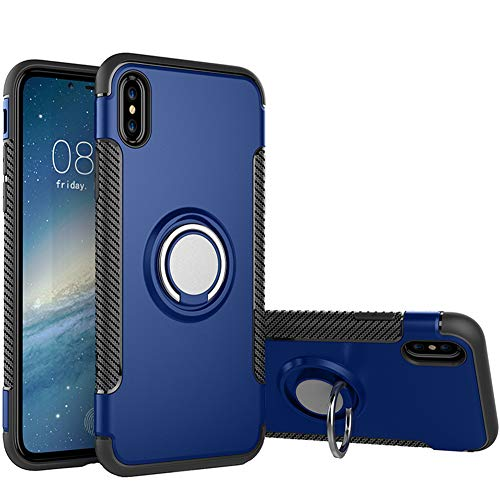 Hayder iPhone Xs Max Case, Car Magnetic Kickstand 360 Degree Ring Holder Protection Cover (Blue)