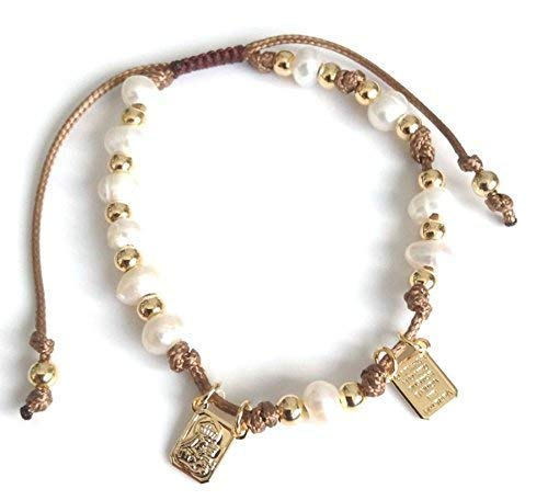 Pearl Rosary Bracelet Freshwater (Brown Scapular Medal Catholic Adjustable Bracelet for Women)