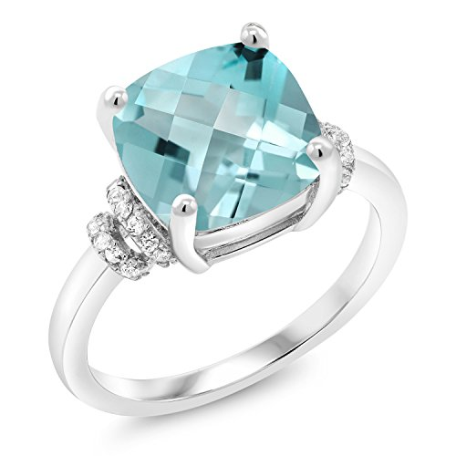 Gem Stone King 4.94 Ct Cushion Checkerboard Sky Blue Topaz 925 Sterling Silver Ring (Size 8)
