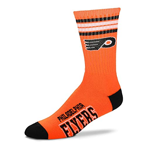 NHL 4 Stripe Deuce Crew Socks Mens-Philadelphia Flyers-Size Large(10-13)