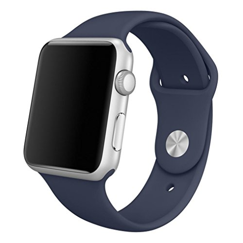 for Apple Watch Band,Voberry® Soft Silicone Sport Style Replacement Band for Apple Wrist Watch (38mm, Dark Blue)