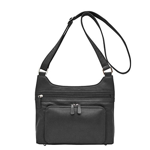 ili 6919 Leather Hobo with adjustable cross body/shoulder strap (Black)