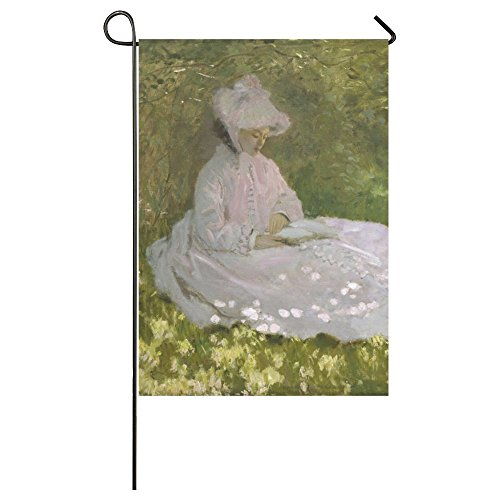 Claude Monet Woman Reading Graphic Pattern Weatherproof 100% Polyester House Flag 28