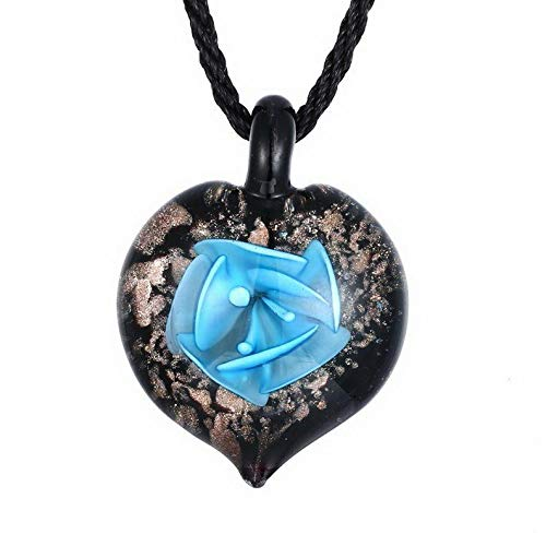 Kaputar Fashion Gold Foil Heart Flower Lampwork Glass Pendant Necklace Women Jewelry   Model NCKLCS - 17760  