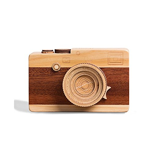 FuturePlusX Creative Wooden Music Box, Retro Camera Designed Wooden Gift Music Box for Boys Girls Home Decoration