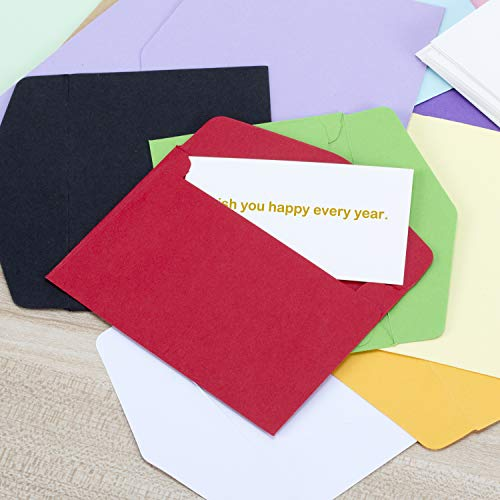 Colorful Envelopes with White Blank Business Cards - 150Pcs Pocket Envelopes by Apoulin (Image #4)
