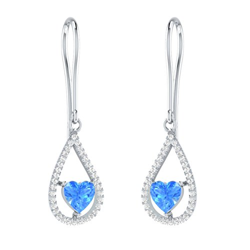 Heart Shape Simulated Blue Topaz Dangler Earrings With IGI Certified Diamond Accents in Sterling Silver by Demira Jewels
