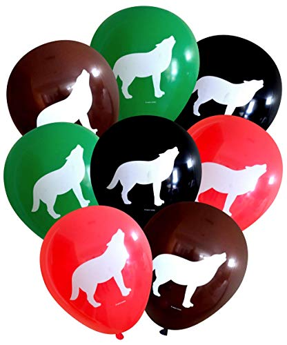 Nerdy Words Wolf Latex Balloons (16 pcs) (Red, Black, Green, Brown)