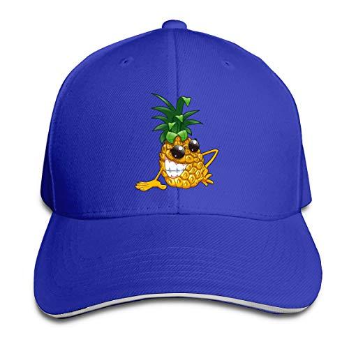 Kidhome Unisex Adjustable Plain Hat Cool Evil Pineapple Sporting Baseball Cap Outdoor Snapback Hat Blue -