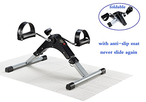 EXEFIT Pedal Exerciser Mini Stationary Bike Foot Peddler Treadmill Seated Chair Cycler for Seniors Wakeman Leg and Arm Home Exercise with Digital Molitor