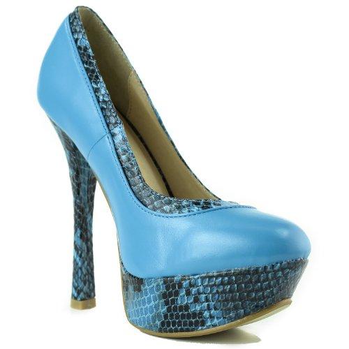 Womens Machi Vinda-21 Plattform Ormskinn Mode Skor Blå