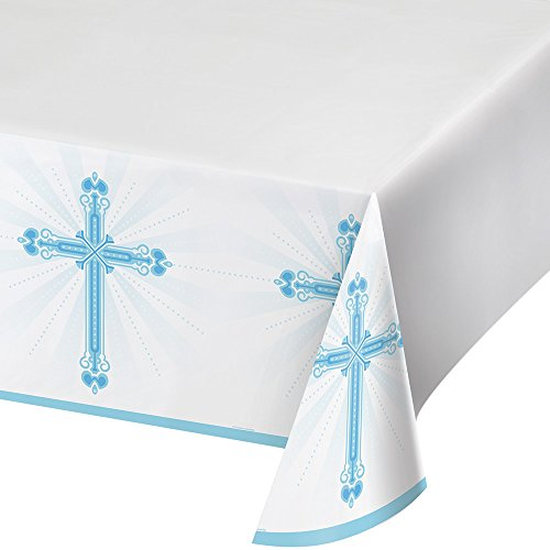 Creative Converting 722223 Border Print Plastic Tablecover, 54 x 102, Blessings Blue ()