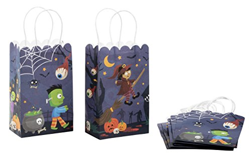 Paper Gift Bag - 24-Pack Halloween Party Favor Bags, Paper Treat Bags for Trick-Or-Treat, 5.3 x 8.5 x 3.2 inches -