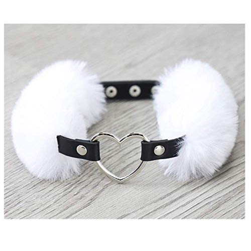 chengbaobaby Leather Faux Plush Heart-Shaped Hoop Buckle to Adjust The Stage Performance Props Neck Cover (White)