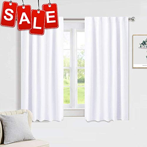 PONY DANCE White Window Curtains - Window Dressing Soft Fabric Room Darkening Back Tab/Rod Pocket Kids Curtain Drapes Privacy Protect for Bedroom & Bathroom, 42