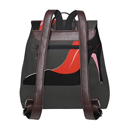 Domstol skoklackskor kvinnor mode ryggsäck handväska mode PU-läder ryggsäck ledig ryggsäck för kvinnor