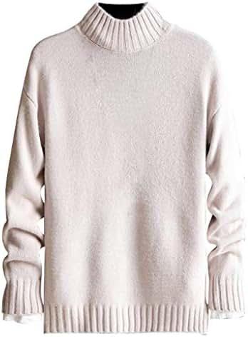 Beautyfine Men Autumn Winter Pure-Color Pullover Sweater Tops
