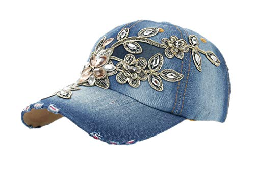 Glittered Rhinestone Baseball Caps for Women Fashion Lace Flower Snapback Hats Bling Sparkle Hip Hop Trucker Hat