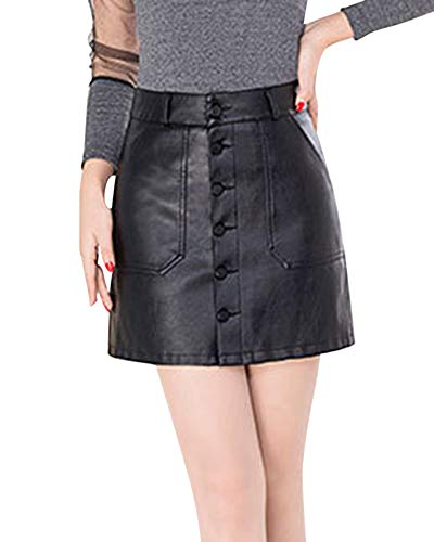 Yonglan Jupe Courte Femme Taille Haute Slim Mode Casual Temprament Simple Boutonnage Jupe en Cuir Noir