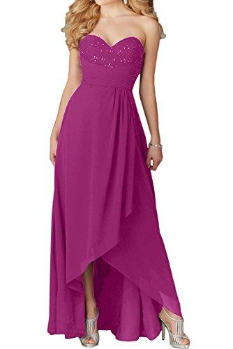 Chiffon Fuchsie Festkleid Ballkleider Promkleid Ivydressing Herzform Abendkleider Damen Lang 4qEnBwSx