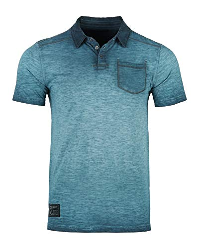 ZIMEGO Mens Short Sleeve Oil Wash Vintage Button Henley Pocket Polo T-Shirt