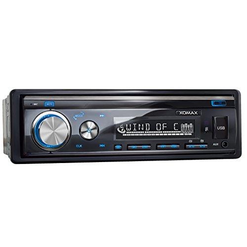 XOMAX XM-RSU253BT Autoradio mit Bluetooth Freisprechfunktion + USB Anschluss (bis 128 GB) & SD Kartenslot (bis 128 GB) für MP3 und WMA + AUX-IN + Verkürzte Einbautiefe + Single DIN (1 DIN) Standard Einbaugröße + abnehmbares Bedienteil + inkl. Einbaurahmen und Fernbedienung + Beleuchtungsfarbe: blau