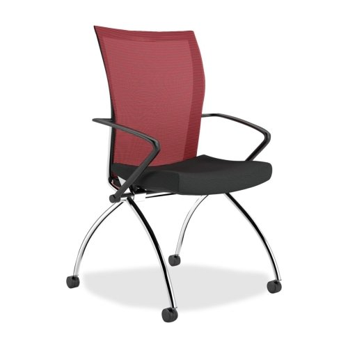Mayline Valore TSH1 High Back Chair with Arms - Fabric Red Seat - Chrome Black Frame - 23