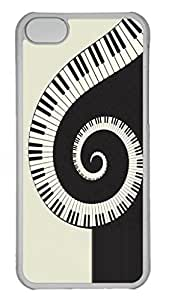 Case Cover for iPhone 5C Transparent Hard Plastic Skin Shell for iPhone 5C with Piano Symbol