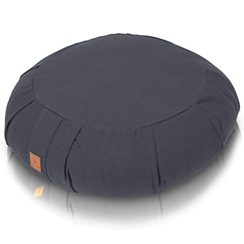 Buckwheat Zafu Therapeutic Meditation Cushion | Yoga Pillow | Round Ergonomic Design Relieves Stress On Back, Hips, Legs for Complete Comfort | Washable Premium Organic Cotton Removable Cover - Gray
