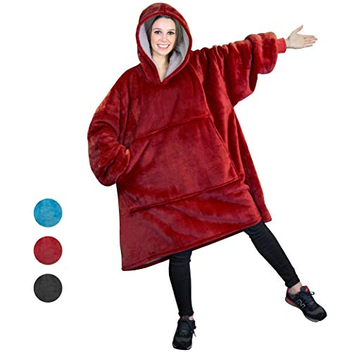 (PAVILIA Sherpa Fleece Hoodie Blanket Sweatshirt for Adult Women and Men   Comfy, Cozy, Warm, Plush, Reversible   Burgundy Red Oversized Wearable Throw Blanket with Hood and Giant Pocket (Wine))