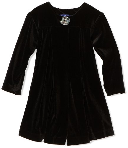 Blue Pearl Baby Girls' Stretch Velour Coat with Box Pleats and Back Bow Detail