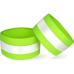 "Reflective Ankle Bands (Pair) - High Visibility ""BlazeBand"" Reflective Bands with 360 Degree Retro Reflective Strip - Fully Adjustable Elastic Reflective Safety Band for Ankle, Leg, or Arm Use"