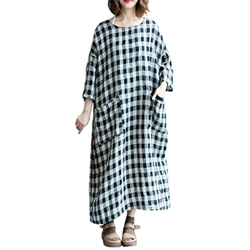 Women's Plus Size Casual Long Sleeve O-Neck Plaid Oversized Pockets Retro Baggy Long Maxi Dress -