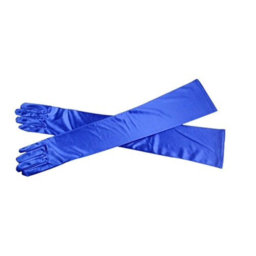 Royal Opera House Costume (Fashion Stretch Satin Long Gloves Opera Wedding Bridal Evening Party Prom Cosplay Costume Gloves GV10 Royal Blue)