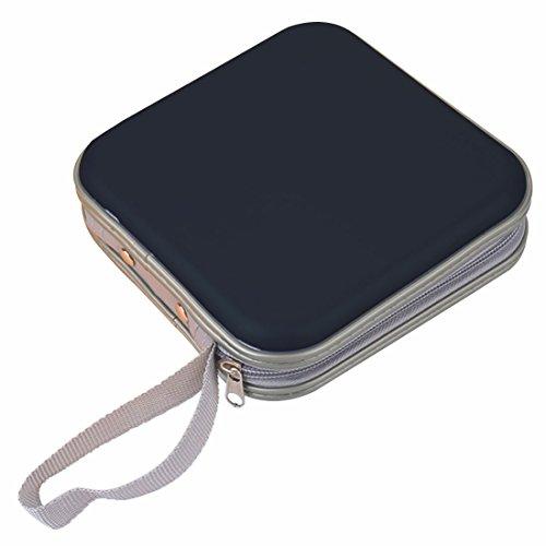 Portable Plastic Disc CD/DVD Wallets Storage Organizer Bags (Black-40p)