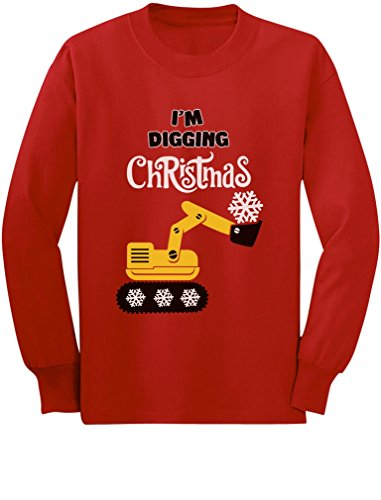 I'm Digging Snow Plough Tractor Toddler/Kids Long Sleeve T-Shirt 4T Red