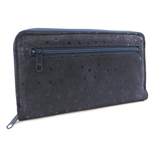 Wallet + checkbook holder leather zipped 'Frandi' navy (pea). by Frandi