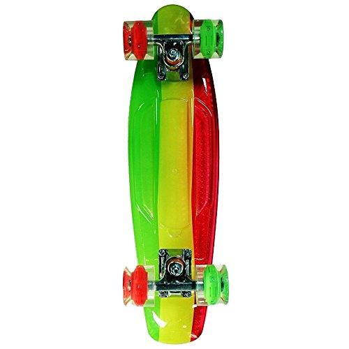 Sunset Skateboards Rasta Complete Skateboard Deck with Red/Yellow/Grey/Green Wheels, 22-Inch, Rasta Stripe (Sunset Skateboard Decks)